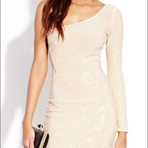 Gold/nude one shoulder long sleeved dress